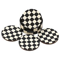 Drink Coasters Chess Board Pattern - Black And White Coaster - Retro Wood Coaster Set With 4 Round Handmade Table Coaste