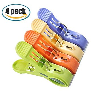 Marrywindix 4.9 Over-size Clothes Towel Big Clips in Fun Bright Colors Set of 4
