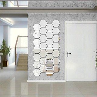 Amaonm (Pack of 12) Side 6.2cm 3d Silver PVC Mirror Acrylic Geometric Hexagon Wall Bedroom Tv Wall Background Sticker Li
