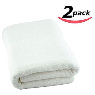 Large White Terry Bath Towels 34 x 70 Inch - 2pk