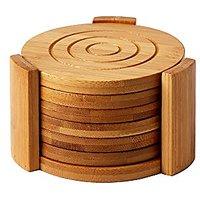 """Heavy Duty Bamboo Coaster Set With 7 Coasters And Custom Holder 4.3"""" X 4.3"""" X 2.7"""