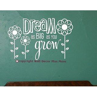 Wall Decor Plus More WDPM2660 Dream As Big As You Grow Wall Sticker, 23-Inch x 15-Inch, White