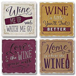 Highland 05-00106 Wine Me Up Set Of 4 Coasters