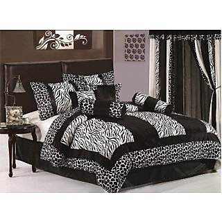 Chezmoi Collection 7-Piece Black and White Micro Fur Zebra with Giraffe Design Comforter Set/Bed-in-a-bag, Twin Size Bed