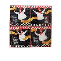 American Atelier Chef Coasters With Caddy (Set Of 4), Black