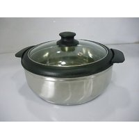 Detak BUY Stainless Steel Haif Ltr Casserole With Tuff &glass Lid