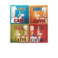 American Atelier Chef Coasters With Caddy (Set Of 4), Multicolor