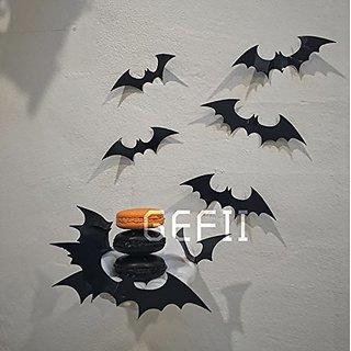 Halloween PVC 3D Decorative Bats Butterfly Removable Wall Sticker, Halloween eve decor by Gefii
