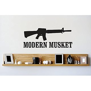 Design with Vinyl 1 Zzz 302 Decor Item Modern Musket Gun Firearm Image Quote Wall Decal Sticker, 10 x 20-Inch, Black