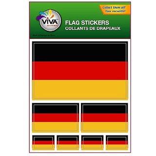 Set of 7 Vinyl Car Stickers, 3 Sizes - Germany Flag (Plain)