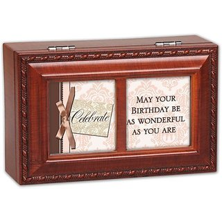 Cottage Garden May Your Birthday Woodgrain Petite Music Box / Jewelry Box Plays Happy Birthday