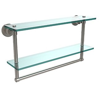 Allied Brass WS-2TB/22-SN 22 by 5-Inch Glass Shelf with Towel Bar