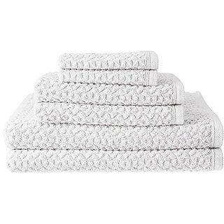 Lucia Minelli Beverly Turkish Jacquard Luxury 6 Piece Towel Set, White