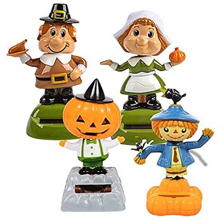 Solar-Powered Dancing Fall Friends, Pumpkin, Scarecrow and Pilgrims, 4-pc Set