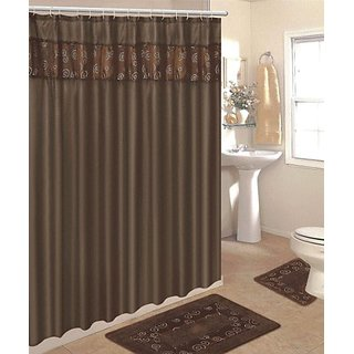 4 Piece Bathroom Rug Set/ 3 Piece Chocolate Ring Bath Rugs with Fabric Shower Curtain and Matching Mat/rings