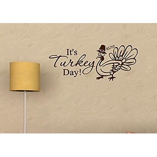 Vinylsay M.Brown -33x13.5-T.0005Its Its Turkey Day! Thanksgiving Wall Dcor, 33-Inch x 13.5-Inch, Matte Brown