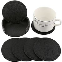 HappyDavid Leather Drink Coasters Cup Mat Set Of 6 With Coaster Holder For Fine Wine Beer Or Any Beverage Use On Bars Or