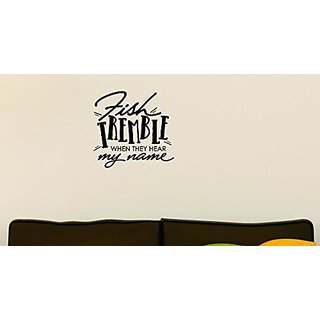 Design with Vinyl Moti 1544 3 Fish Tremble When They Hear My Name Outdoor Sports Wildlife Men Peel & Stick Wall Sticker