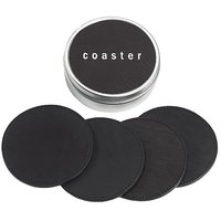 4 Coasters In Tin Box, Genuine Calfskin Leather, 4 Inch Round, Black