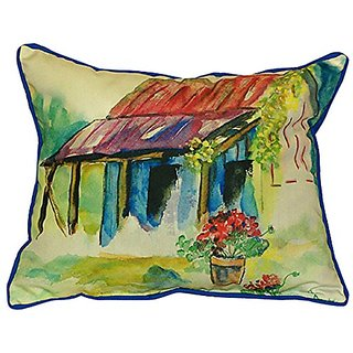 Betsy Drake Barn & Geranium Indoor/Outdoor Pillow, 20