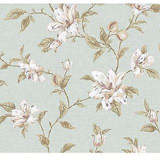 York Wallcoverings PH4632 Artisan Estate Magnolia Vine Wallpaper, Soft Green, white, Purple, Pale Peach, Brown