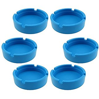Hong Cheng(TM) Silicone Round Ashtray, Pack of 6,Colorfull Premium Silicone Rubber High Temperature Heat Resistant Round