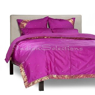 Violet Red - 5 Piece Handmade Sari Duvet Cover Set with Pillow Covers / Euro Sham - Queen