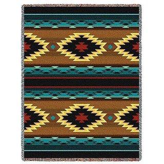 Southwest Geometric Turquoise Throw Blanket 70