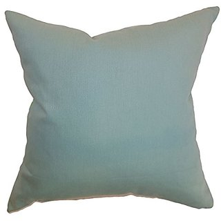 The Pillow Collection Resolute Solid Aquamarine Pillow, 20