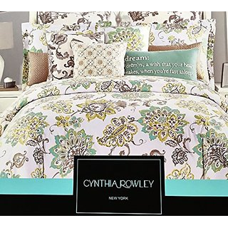 Cynthia Rowley Full/Queen 3 Pc. Duvet Cover Set, Aqua, Green and Gray Large Floral