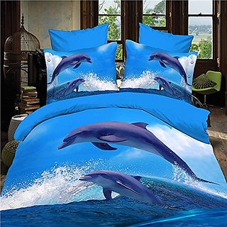 Home Textile Animal Dolphin 3d Bedding Set, 4pcs Bedding Set X Long Twin Size Duvet Cover, Bed Sheet, Pillow Case :100%