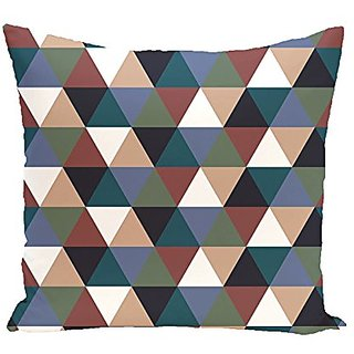 E By Design Triangles Geometric Print Outdoor Pillow, 18-Inch, Mahogany