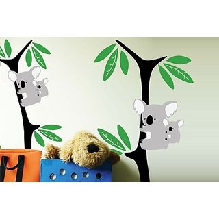 Surface Collective Kid Koala Wall Decal, Black/Green/Light Grey/White