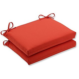 Pillow Perfect Outdoor / Indoor Splash Mango Squared Corners Seat Cushion (Set of 2)