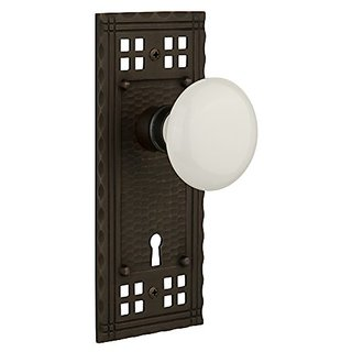 Nostalgic Warehouse Craftsman Plate with White Porcelain Knob and Keyhole Complete Privacy Set, Oil-Rubbed Bronze