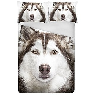 Husky Pattern 3 Pieces Digital Printed Bed Cover with Pillow Case with Modern Designs