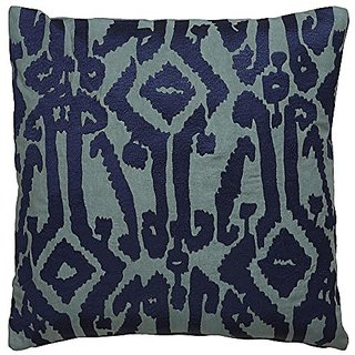 Jaipur Tribal Pattern Blue Cotton Down Filled Pillow, 18