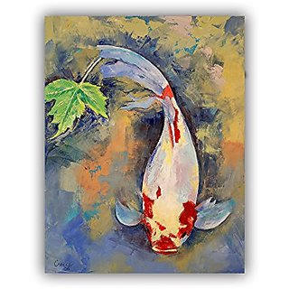 ArtWall Michael Creeses Koi with Japanese Maple Leaf Art Appeelz Removable Wall Art Graphic, 14 by 18