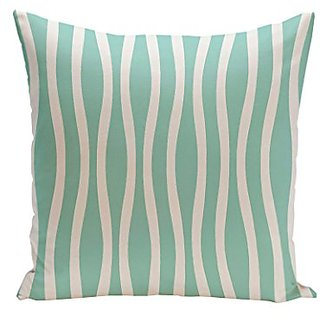 E By Design CPS-N10-Aqua-16 Wavy Stripe Cotton Decorative Pillow, 16-Inch, Aqua