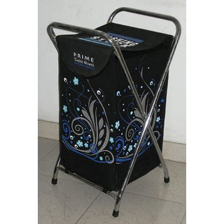 Laundry Bag Curls Silver With Steel Frame & Designer Printed