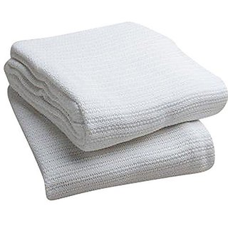 Elivo 100% Cotton Hospital Thermal Blankets - Open Weave Cotton Blankets - Breathable and Prevent Overheating - Soft, Co