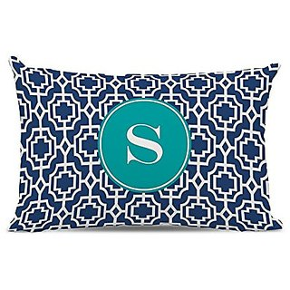 Whitney English Designer Lattice Lumbar Pillow with Single Initial, Q, Multicolor