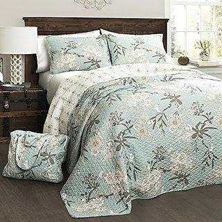 Lush Decor 4 Piece Botanical Garden Quilt Set, Full/Queen, Blue