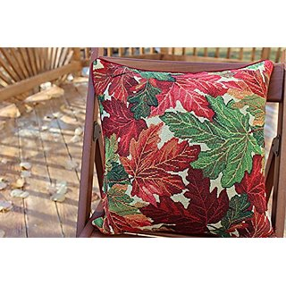 Tache Set of 2 Piece 16 X 16 Inch Warm Tapestry Colorful Thanksgiving Leaves Fall Foliage Decorative Accent Throw Pillow