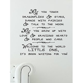 Wall Decor Plus More WDPM2424 Dragonflies, Stars Welcome Little One Nursery Wall Decal Sticker, 23x22-Inch, Black