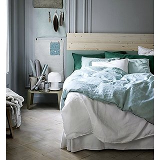 Pure Linen Duvet Quilt Cover 3pc set King Double Genuine 100% Linen Flax French Country Old Fashion Pale Blue