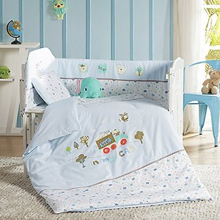 LOVO Forest Rendzvous Cotton 11-Piece Baby Infant Safety Crib Bedding Set with Bumpers Blue