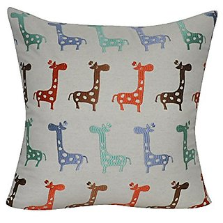 Loom & Mill P0409-2222P Linen Giraffe Decorative Pillow, 22 x 22