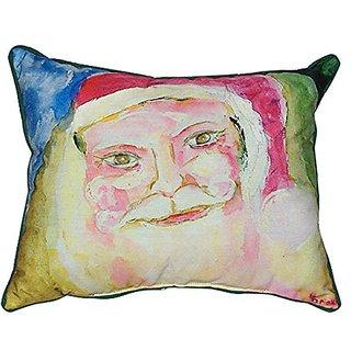 Betsy Drake Santa Face Indoor/Outdoor Pillow, 20