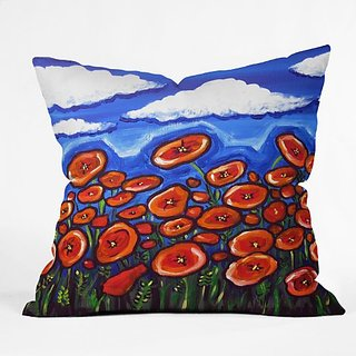 DENY Designs Renie Britenbucher Red Poppy Field Throw Pillow, 16 x 16
